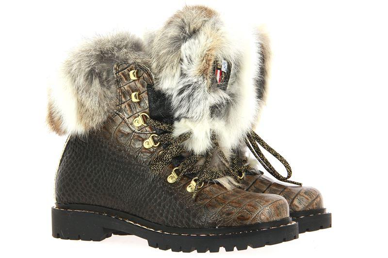 New Italia Shoes gefüttert REPTIL-OPTIK LEDER TAUPE  (38)