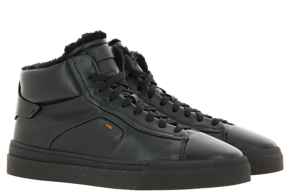 Santoni Sneaker gefüttert CAMOSCIO BLACK