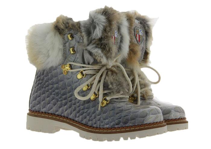 New Italia Shoes Stiefelette KANNINCHENFELL GRAU GLITTER (41)