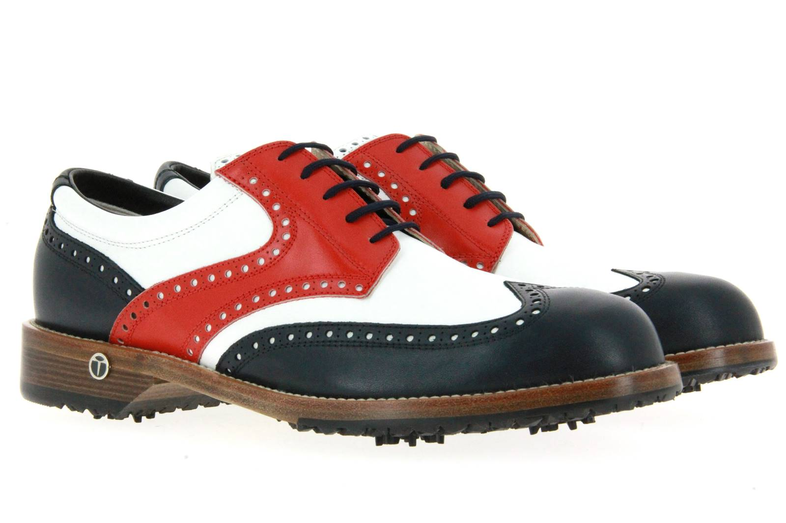 Tee Golf Shoes Golfschuh TOMMY VARIO BLU BIANCO ROSSO (42½)