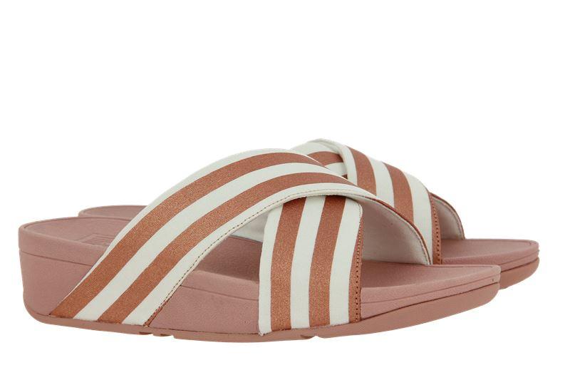 Fitflop Pantolette LULU METALLIC STRIPE SLIDES WHITE/ROSE GOLD (39)