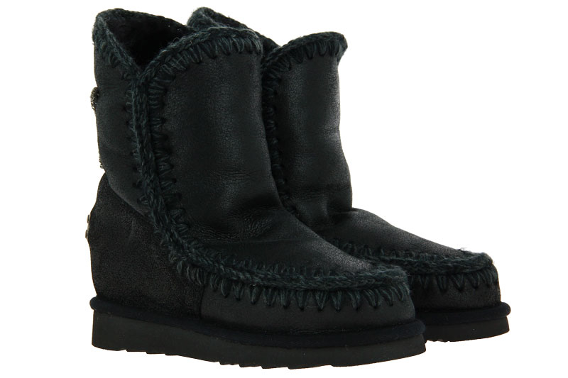 MOU Boots WEDGE BACK STAR PATCH CRACKED BLACK GREY (40)