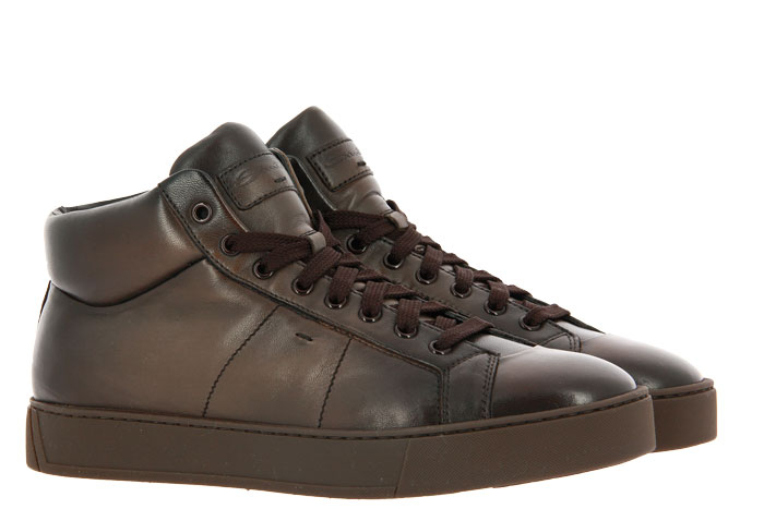 Santoni High Top Sneaker NAPPA BROWN (43)