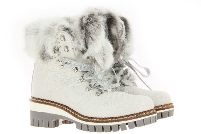 New Italia Shoes Stiefelette gefüttert KROKO-OPTIK MILCHWEISS (41)