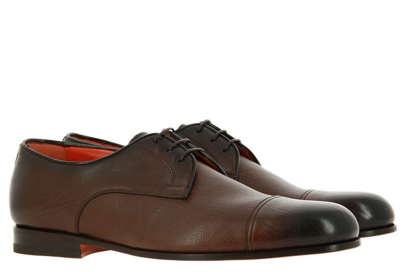 Santoni Schnürer LEATHER ANTIK BROWN (43)