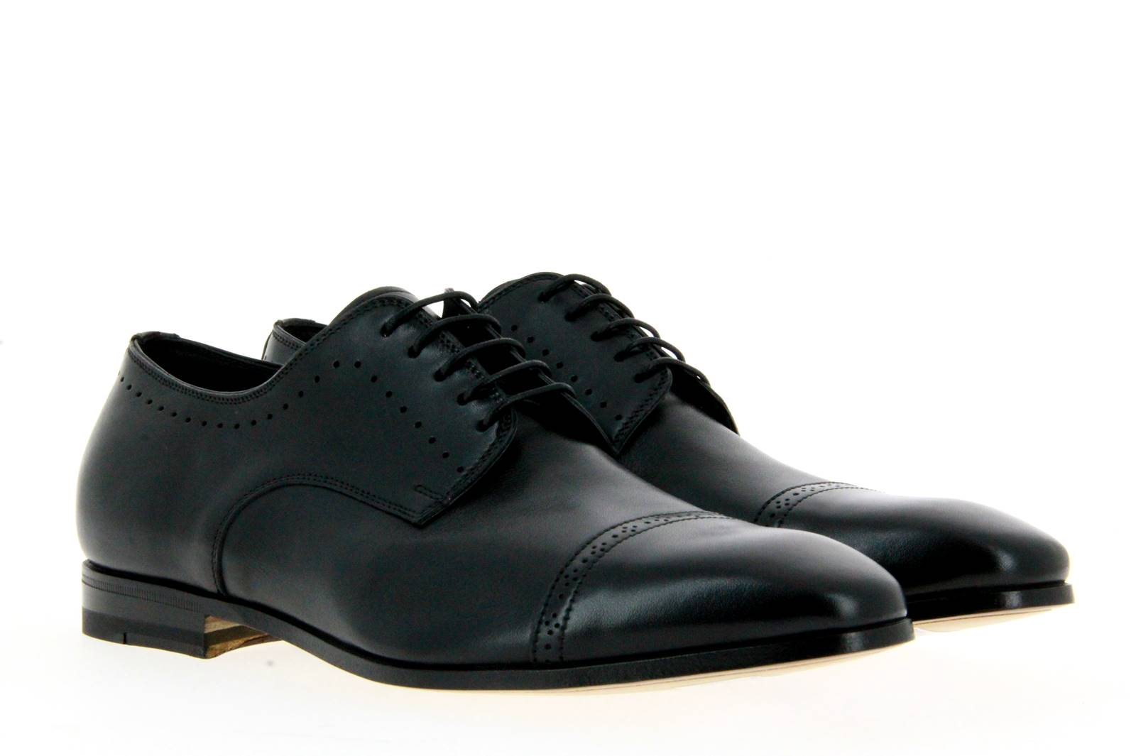 Santoni Schnürer LEATHER BLACK (43)