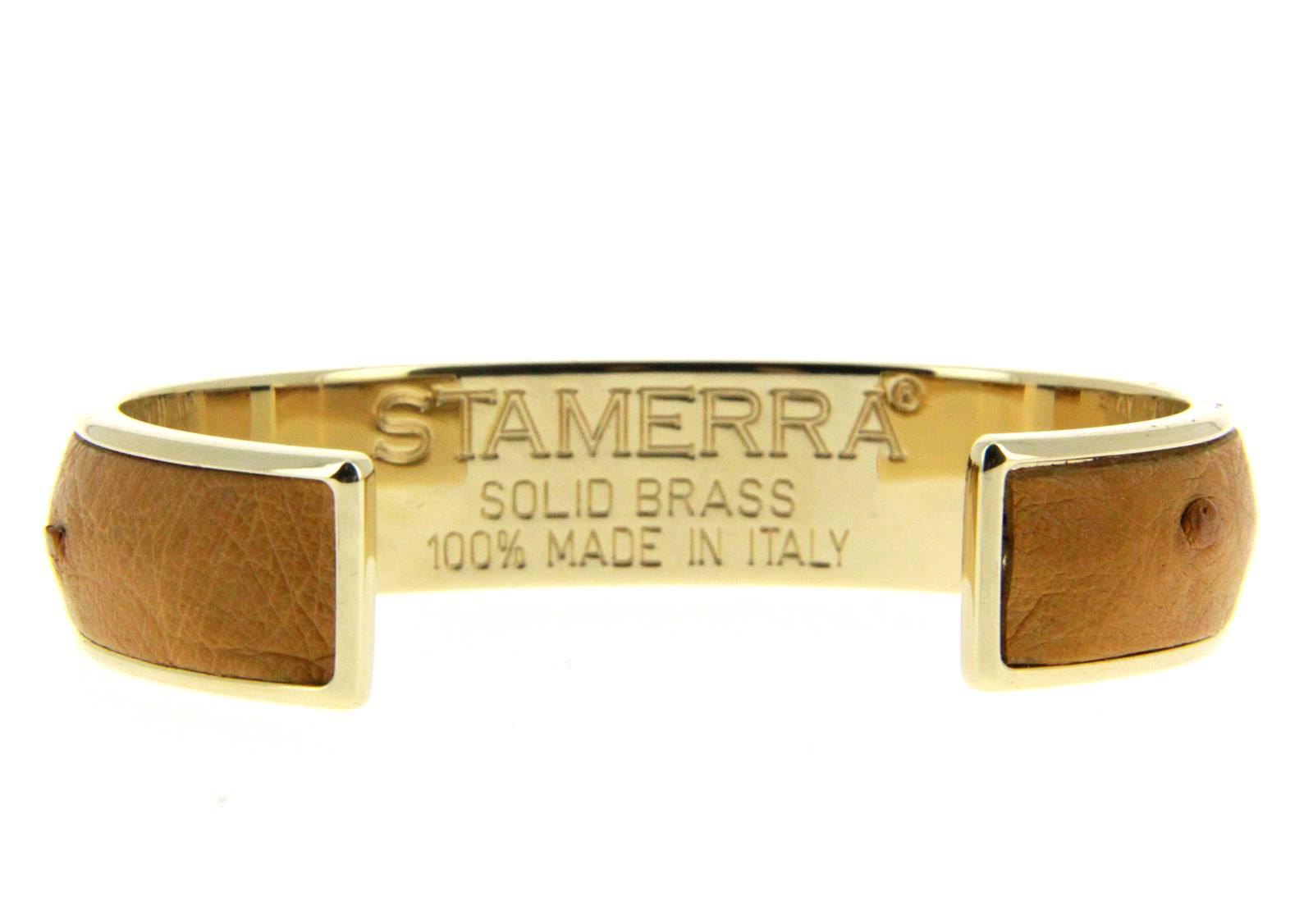 Stamerra Armband VERO GENUINE OSTRICH GOLD TABACCO