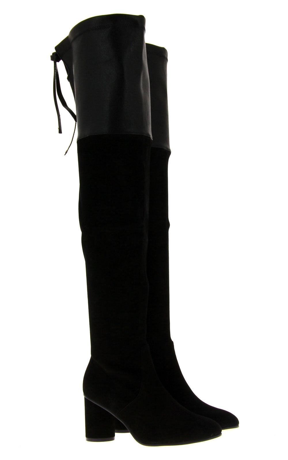 Stuart Weitzman Overknee-Stiefel HELENA BLACK FUSION SUEDE  (39)