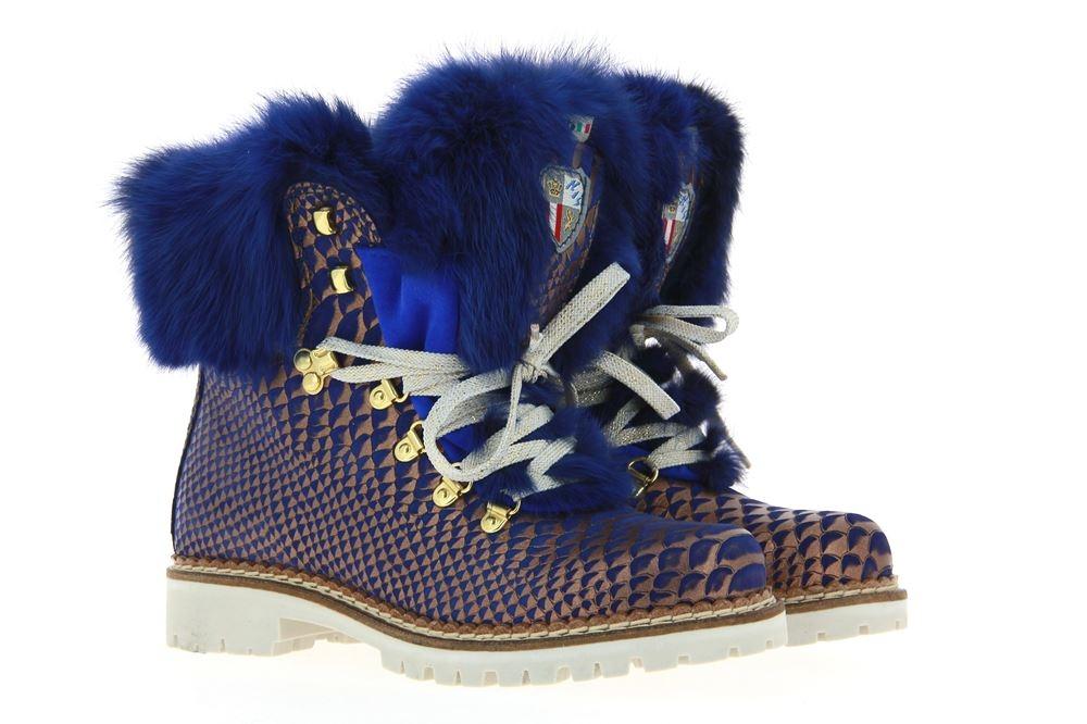 New Italia Shoes Stiefelette gefüttert REPTIL-OPTIK LEDER BLAU GOLD (37 )