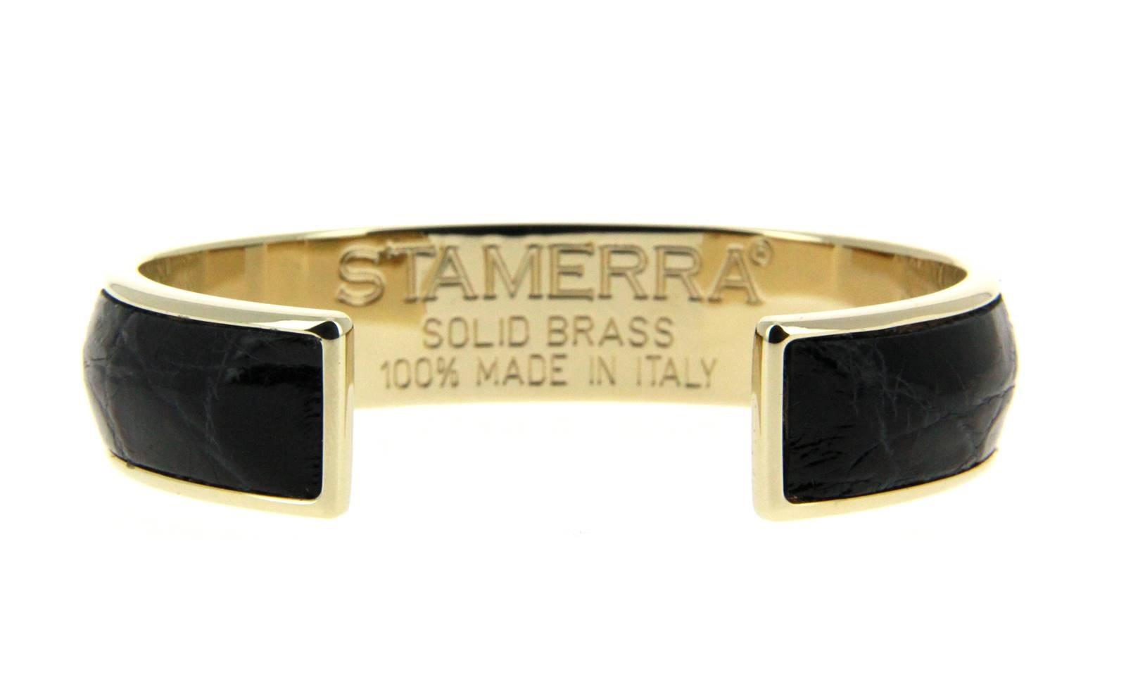 Stamerra Armband VERO GENUINE CROCO MEDON GOLD NERO