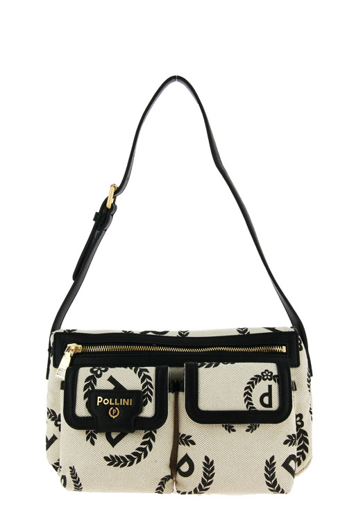 Pollini Tasche BORSA CANVAS ECRU GRAINED NERO