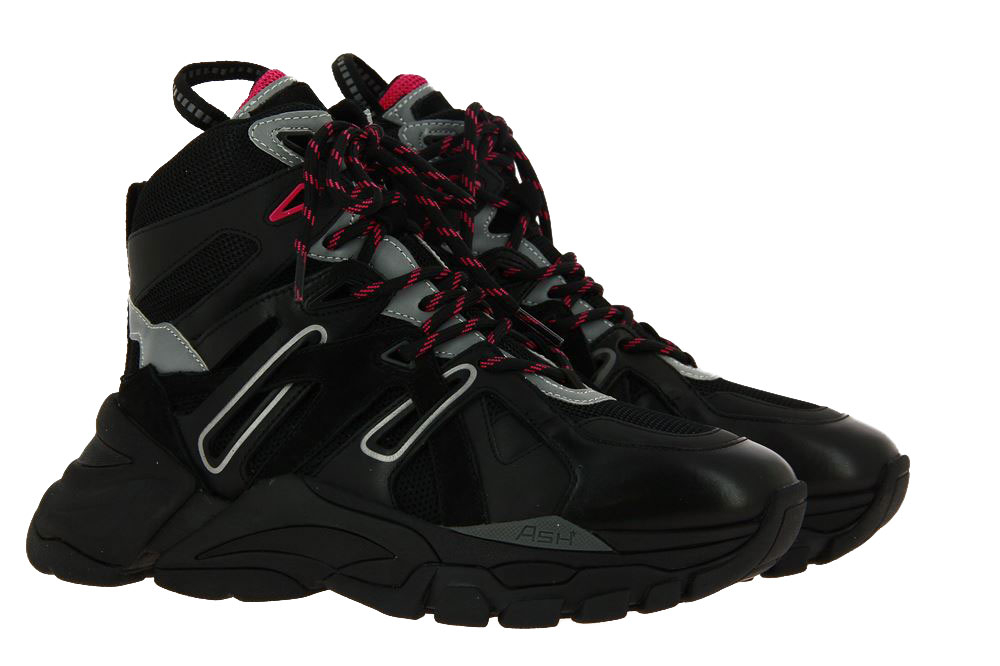 Ash High Top Sneaker FICTION NAPPA CALF BLACK SILVER MAGENTA (39)